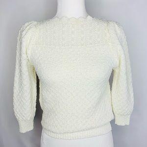 Sportiva Vintage • Cream Puff Sleeve Knit Sweater